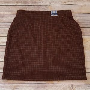 Brown Plaid Skirt NWT
